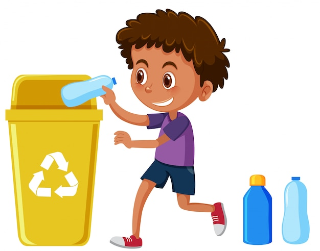 Young boy recycling bottles