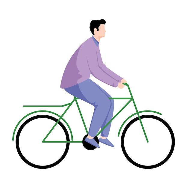 自転車のイラストに乗る少年