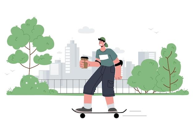 Мальчик катается на скейтборде в парке с наушниками в ушах без провода наслаждается летом