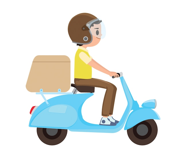 A young boy riding a delivery scooter