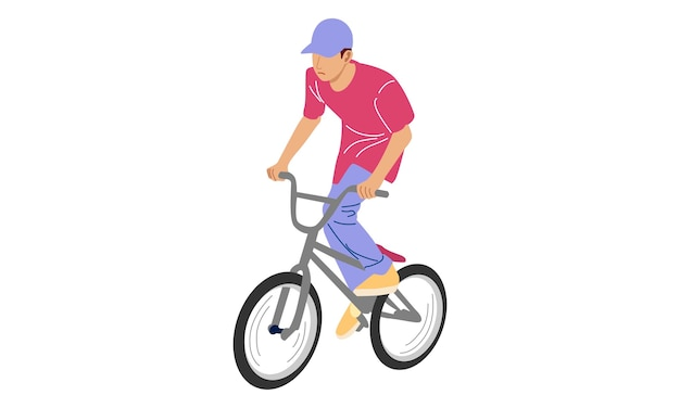 Young boy showing off freestyle trick with bicycle