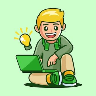Мальчик сидит с ноутбуком