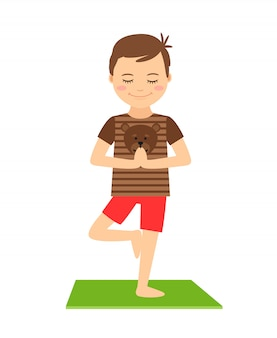 Young boy standing in yoga pose isolated. yoga kids vector illustration