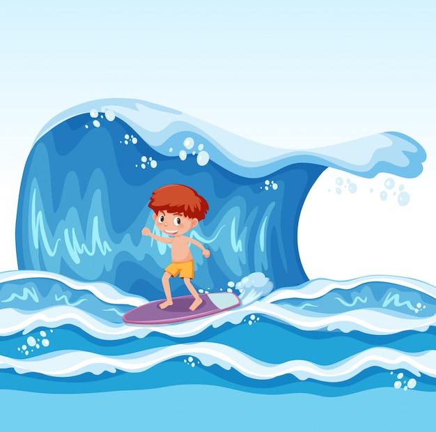 波でサーフィンしている若い少年