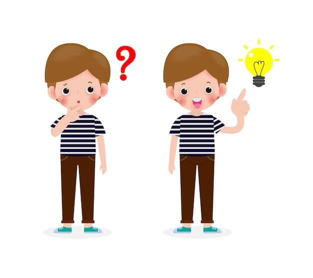 アイデア、かわいい子供たちのキャラクター、ポーズの質問と白い背景イラストで隔離のインスピレーションを考える少年