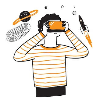 3d 안경을 사용하는 어린 소년은 우주 여행처럼 간단하고 재미있는 가상 현실을 경험합니다