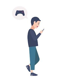 거리를 걷고 스마트폰으로 온라인 비디오 게임을 하는 어린 소년. 모바일 게임에 중독된 사람. 흰색 배경에 고립 된 남성 만화 캐릭터입니다. 플랫 다채로운 벡터 일러스트 레이 션.
