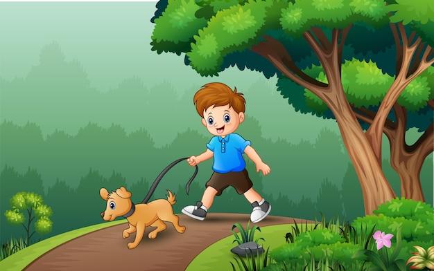彼の犬のイラストと歩く少年