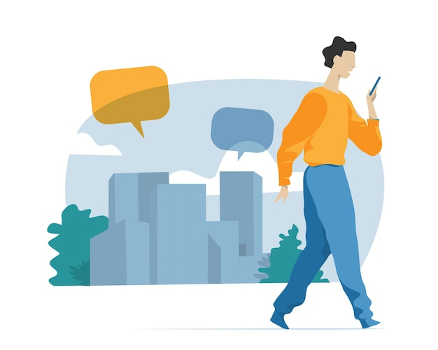 Young boy walking with mobile phone on urban background with speech bubbles