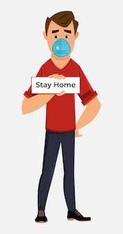 Young boy wearing mask and advice for stay home. coronavirus prevent advice