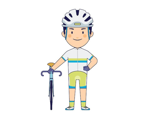 Young boy with road bike character