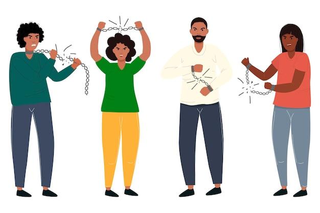 Молодые парни и девушки разрывают цепи, черный мужчина освобожден от рабства, свобода июнь векторная иллюстрация в современном стиле сет
