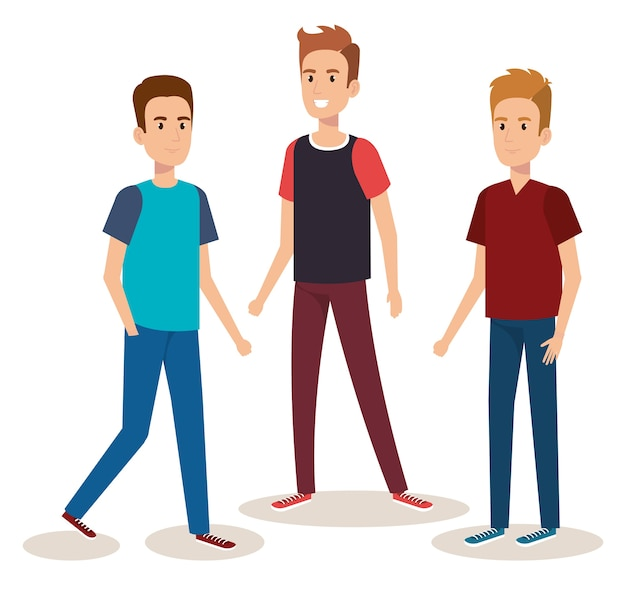 Young boys avatars characters vector illustration design
