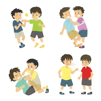 Young boys fighting vector set