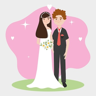 Young bride and groom illustration