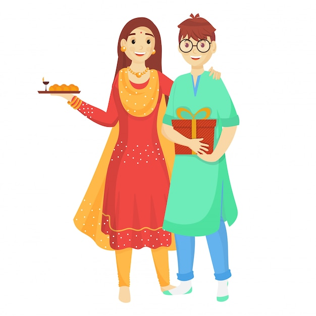 Young brother and sister celebrating on the occasion of raksha bandhan. Premium Vector