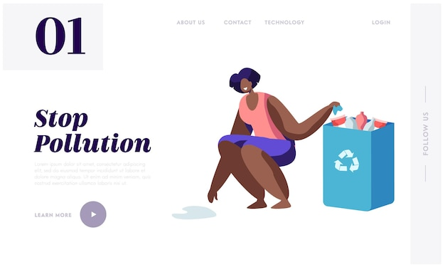 Young brown skin woman collecting plastic trash into paper bag with recycling sign. stop pollution concept, website landing page template