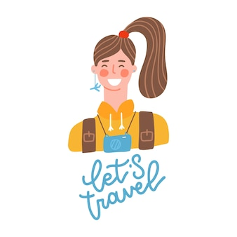 A young brunette traveler with backpack lets travel quote concept of traveling hiking trekking and o...