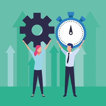 Young business couple teamwork lifting gear and chronometer illustration