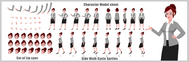 Young business girl character model sheet with walk cycle animations and lip syncing