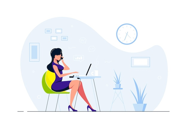 Молодой бизнес-леди, работает на ноутбуке за столом в офисе. плоский стиль иллюстрации