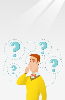 Young business man thinking vector illustration.