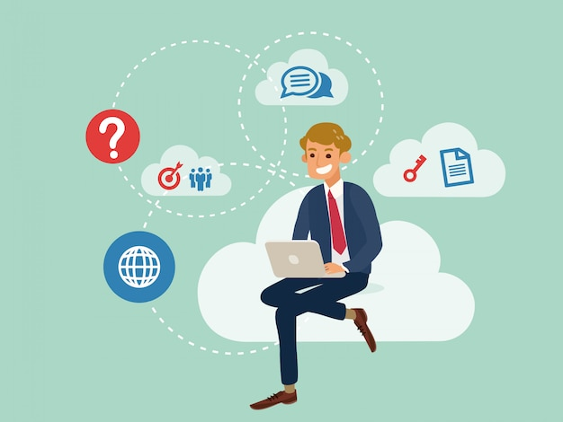 Young business man using a laptop sitting on a cloud