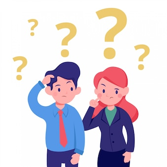 Young business man and woman confused thinking office illustration