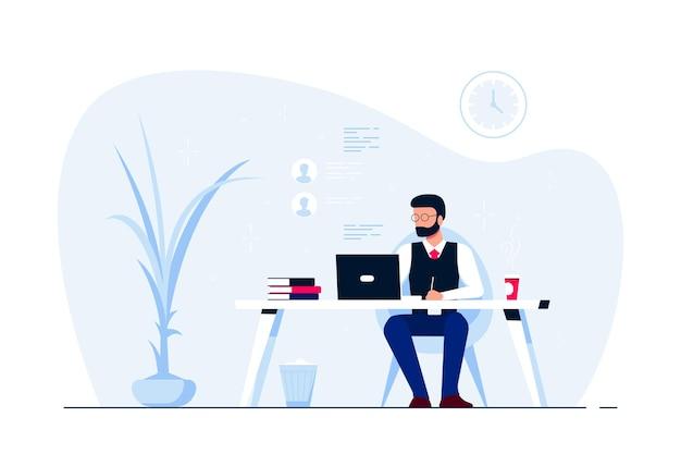 Молодой деловой человек, работающий на ноутбуке за столом в офисе. плоский стиль иллюстрации