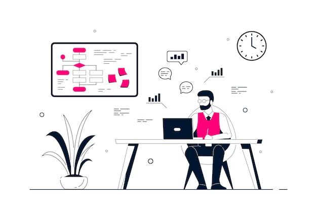 Молодой деловой человек, работающий на ноутбуке за столом в офисе. плоский стиль линии искусства иллюстрации