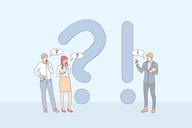 Молодые деловые люди мультяшные персонажи стоят возле восклицательных и вопросительных знаков, задают вопросы и получают ответы в интернете