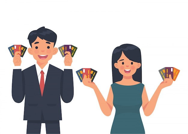 Young business people show credit card