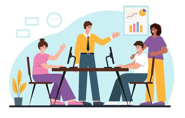 사무실이나 공동 작업 장소에서 함께 일하는 젊은 사업가 분석 계획 또는 시작