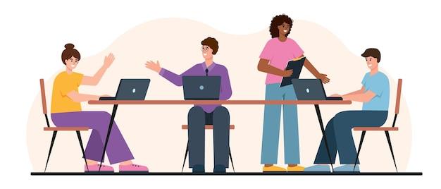 사무실 또는 공동 작업 장소에서 함께 일하는 젊은 비즈니스 사람들 비즈니스 회의