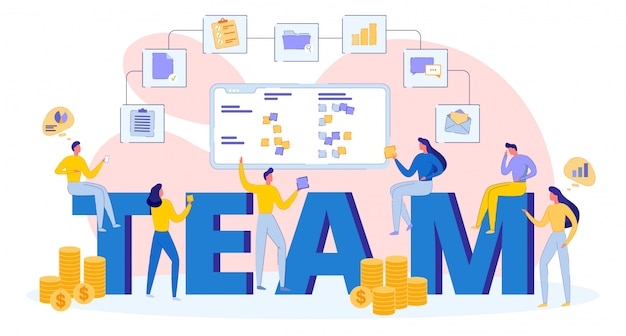 Young business successful team, teamwork concept