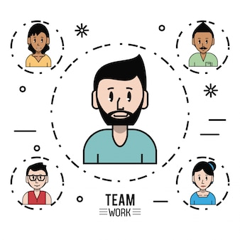 Young business teamwork cartoon style background