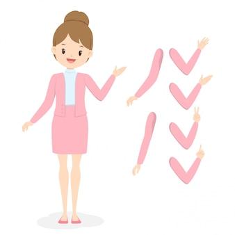 別の手と腕のポーズでピンクのオフィス服の若いビジネス女性。制服を着たフラット漫画少女。