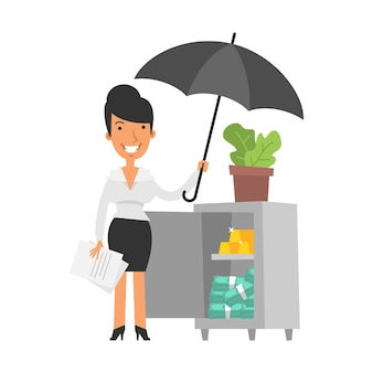 젊은 비즈니스 우먼이 우산을 들고 금과 돈으로 안전하고 웃고 있습니다