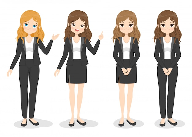 Young business woman in office clothes with different hand poses and color of hair. flat cartoon girl in formal uniform (dress, pants, suit).