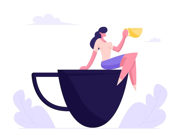 Young business woman relaxing on coffee break sitting on huge cup