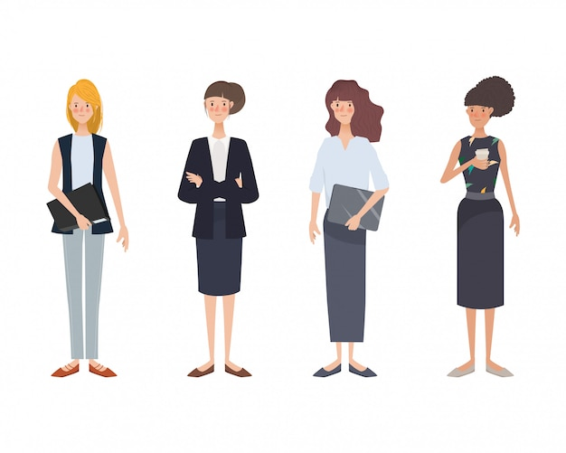Young business woman set different clothes. hand drawn character.