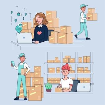 Молодые бизнес-леди продают сумки онлайн. заказы поступают каждый день. у нее есть курьер и доставка по доставке продукции. иллюстрация плоский