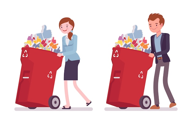Young businessman and businesswoman pushing wheeled trash bins with likes