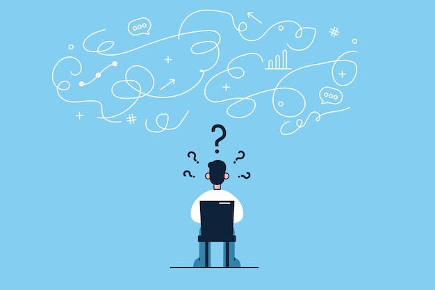 Young businessman cartoon character sitting backwards on chair in office and having innovative thoughts in head thinking of startup new business project