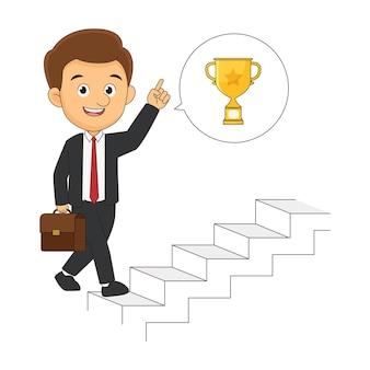Молодой предприниматель, восхождение по карьерной лестнице