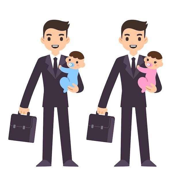 かわいい赤ちゃんを保持しているスーツケースとスーツの青年実業家の父