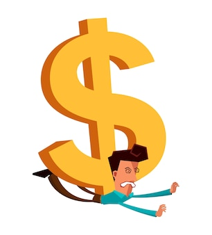 Young businessman get crushed by dollar