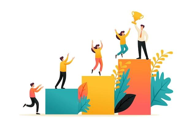 青年実業家は成功、成功のはしご、リーダーシップを達成しました。フラットな2dキャラクター。ウェブデザインのコンセプト。