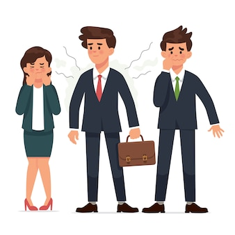Young businessman has body odor