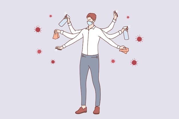 코로나 바이러스로부터 보호하기 위해 여러 손을 씻고, 손을 소독하고 표면을 청소하는 의료 얼굴 마스크의 젊은 사업가